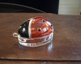 Glass Lady Bug Jewelry / Keepsake Box