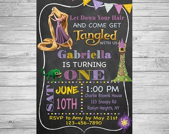 Tangled Birthday Party Invitation - Rapunzel Birthday Invitation