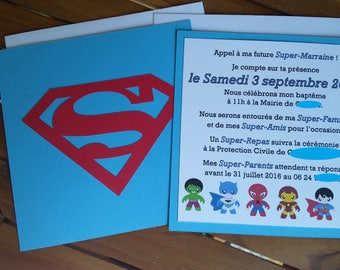 Baptism Superman Super Hero themed birthday invitation