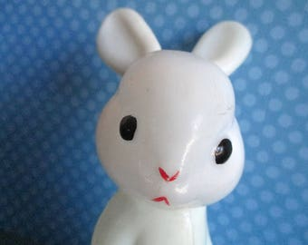 Vintage Toy Rabbit, White Rabbit Toy, Plastic Bunny, Moveable Head, Collectible Toys, Gifts for Kids, Kawaii, Nursery Decor, Adorable