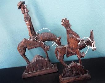 Vintage Wooden Sculpture, Hand Carved Wood Conquistadors, Don Quixote, Spanish Style Home Décor, Primitive Outsider Folk Art