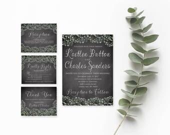 Rustic Wedding Invitation Template- Wedding Invitation Template Download- Instant Download Wedding Invitation- Printable Wedding Invitation