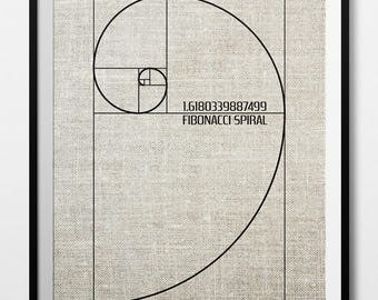 Fibonacci Spiral, Golden Ratio, Math Decor,Fibonacci Decor,Golden Ratio Decor,Fibonacci Poster,Fibonacci Wall Art,Fibonacci,INSTANT DOWNLOAD