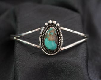 Navajo Sterling Silver W/ Turquoise Cuff