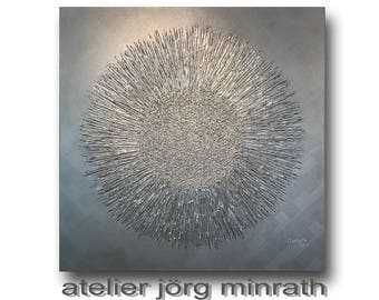 Abstract painting - tree paintings - contemporary original - painting on wood frame - 100 x 100 x 2 cm - modern art - unique - silver