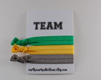 Team Hairties   Green Yellow Grey   Set of 3 FOE Hair ties   College University Sports Hairbands   No Crease Football Ponytail holders