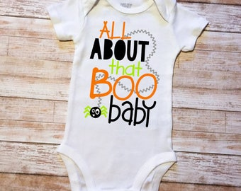 All About That Boo Baby Infant Boy's Halloween Shirt Toddler's Halloween Party Shirt Infant's First Halloween Outfit Baby Boy's Halloween