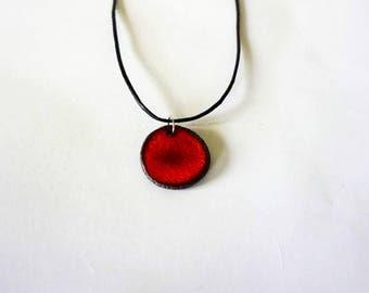 Handmade Round Red Ceramic Necklace