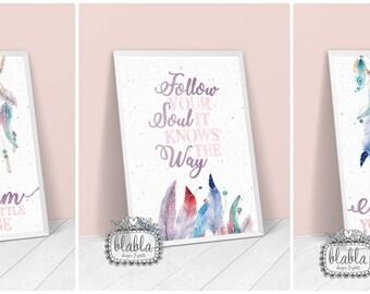 Dreamcatchers, Pastel, Watercolor, Dreams, Set of 3 Posters A4/A3
