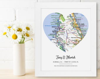 Girlfriend One Year Anniversary Map Heart Gift Unique Love Art Gift Customized Friend Gift Distance Friend Gift Personalized Long Distance