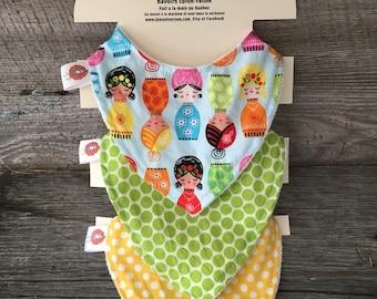 All 3 bibs bandana baby scarf bib bavana Russian doll cotton yellow-green