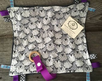Doudou labels toy for baby with attached pacifier or gray minky grey purple sheep teething toy