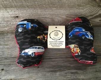 Head cushion elephant ears pillow design car seat car vintage auto red minky