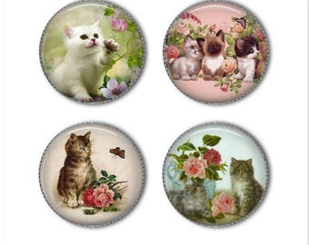 Vintage Kittens magnets or vintage kitten pins,cat magnets pins buttons, refrigerator magnets, fridge magnets, office magnets