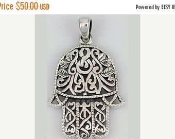 silver hamsa pendant Filigree design , hand made in Jerusalem , hamsa jewelry, Jewish jewelry.Israeli Jewelry.