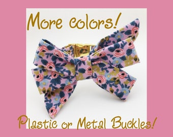 GOLD, Silver or ROSE GOLD! Rifle Paper Co. Rosa & Girly Bow Dog or Puppy Collar