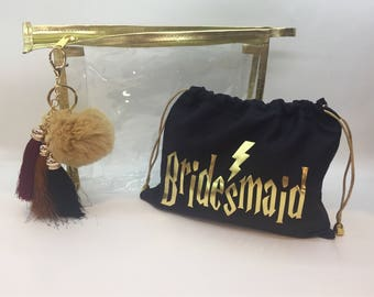 Harry Potter Makeup Bags, Custom Gold Trimmed Makeup bags, Cosmetic bags, Bridesmaid Gift, Bridal Shower Gift, Custom Bridesmaid Gift