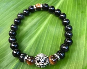 Wise Owl Obsidian Bracelet