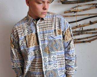 Hipster shirt 1990s 1980s vintage native print indie motives mens long sleeve casual