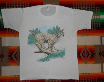 Bob Cat Wildlife Paper Thin T Shirt Size M-L