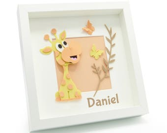 Childrens Giraffe Picture. Baby Gift Personalised Giraffe Frame. 3D Funky Foam . Nursery Decor Kids Bedroom Decor. Special Needs Gift. ADHD