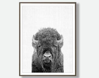 Black and White, Bison Art, Digital Download Buffalo, Watercolor Bison, Buffalo Art, Printable Bison, Buffalo Wall Art, Buffalo Poster