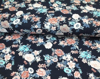 Jersey Cotton Jersey flowers Roses romantic dark blue fabric by the metre 0.50 metres