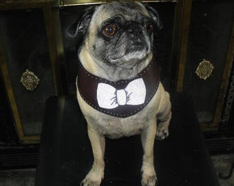 Faux Leather Dog Collar Bow Tie