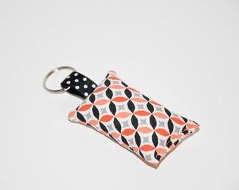 Keychain fabric - geometric - toned black and orange - gift idea