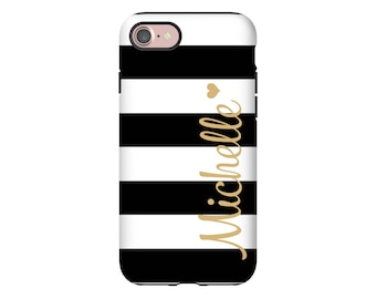 Personalized iPhone 7 case, Galaxy S8 case, striped iPhone case, custom iPhone case, 3D wrap around iPhone case, back to school