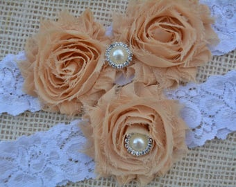 Cream Shabby Flower Garters, Crystal Rhinestone Pearl, Stretch Lace Garter, Plus Size Garter, Beige Wedding Garter, Tan Bridal, Nude Garter