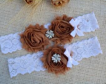 Brown Wedding, Bridal, Brown Garter, Wedding Garters, Bridal Garter Brown, Floral Garter, Vintage Garter, Garter Set, Bridal Brown Garter