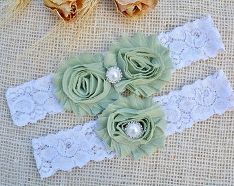 Wedding Garters, Linden Green Garter, Green Garter Set, Green Wedding Garter, Green Bridal Garter, Wedding Garter, Prom Garter, Olive Garter