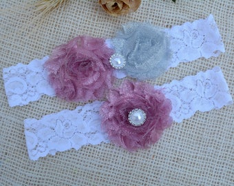 Garter Pink Grey, White Glitter Garter, Grey Bridal Set, Silver Garter, Garter Set Grey, Garter For Brides, Keep Garter, Grey Bridal Garter