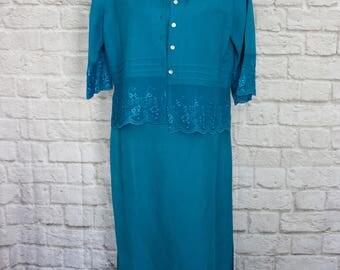 Vintage Turquoise 2 Piece Maxi Dress, NHM, Melissa Harper Dress,Sleeveless Dress,  Long Dress, Boho Dress, Garden Party Dress, Summer Dress