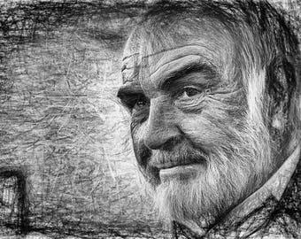 Sean Connery,Line Art,Abstract,Drawing,Geschenk,Unikat,Geburtstag,Home,Paint,Portrait,Deko,Architekt,Raumplaner,Leinwand,Wohnung,Wand Deko