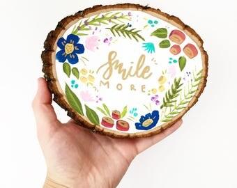 Smile More / Joy Double Sided Wood Slice Wall Art