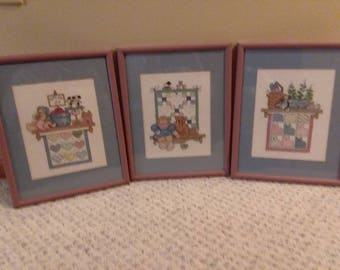 Trio Country Cross-stitched set