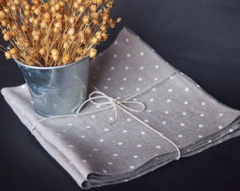 Linen napkins set of 2, 4, 6 or 8 Polka dot napkins, Variuos sizes, Grey napkins with white polka dots, Table decoration, Dining