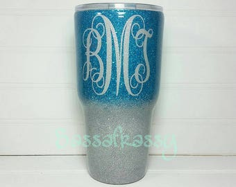 10,20 and 30 oz. Glitter Stainless Steel Tumbler *Turquoise/Silver Ombre*