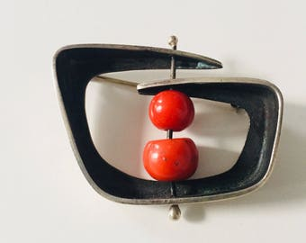 Absolutely Fabulous Pin from the 1950s in Sterling and Coral by the Silversmith and Artist Ed Weiner
