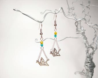 Silver Origami Crane Earrings - Mustard Yellow and Clear Turquoise