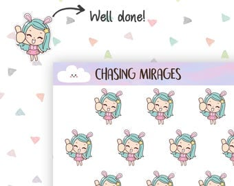 C210 | Good job planner sticker |  Thumbs up planner sticker | Erin condren planner sticker | Kawaii girl planner sticker