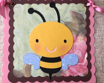 Bee baby shower banner, bumble bee baby shower decoration, photo prop, nursery decor, It's a girl banner.