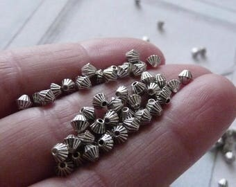 Cone Beads, Striped Beads, Tiny Beads, 3.5mm Antique Silver tone Spacer Beads, Cone Striped Spacer Beads, Metal Beads