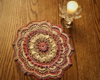 Pink & Brown Variegated Textured Doily (new - handmade)