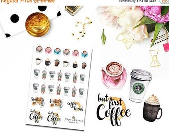 SALE/ COFFEE Stickers/Planner Stickers for use with Erin Condren Life Planner/Happy Planner Stickers/Horizontal/Functional Icon Sticker Kit