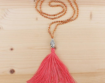 BOHEMIAN Style BUDDHA TASSEL Necklace Pink Fluo