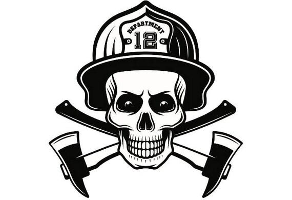 Firefighter Logo 8 Skull Firefighting Rescue Axes Crossed