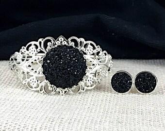 Black Druzy Jewelry Set - Druzy - Black - Druzy Earrings - Druzy Bracelet - Black Jewelry - Bridesmaid Gift - Bridesmaid Jewelry - Black -